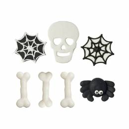 7 decorations sugar Os, cobwebs and skull Halloween