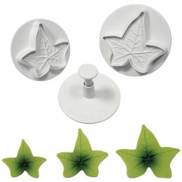 3 push-piece cutters with ivy leaf