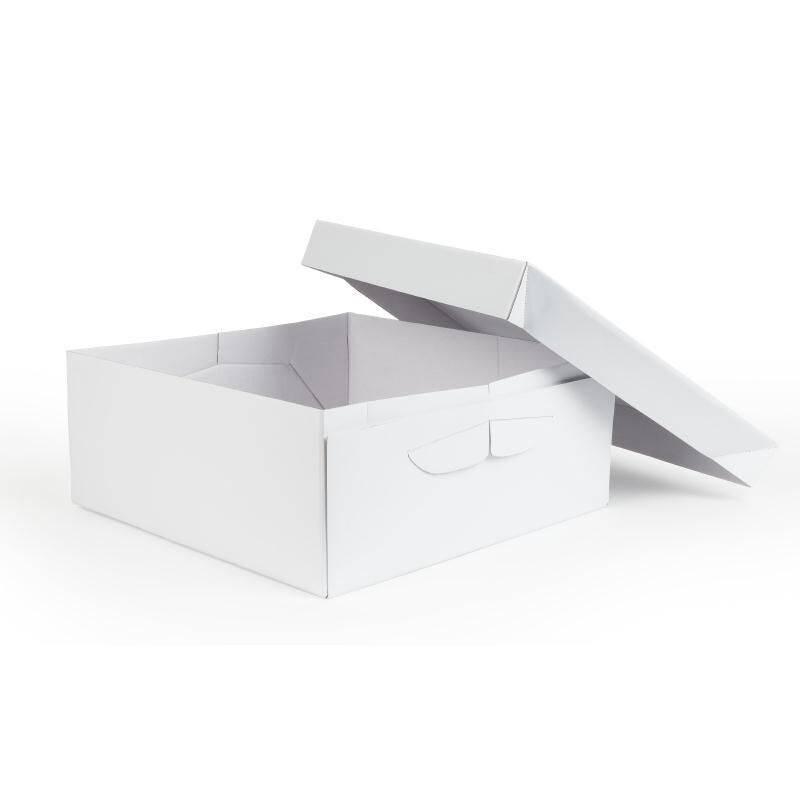 Caja de hojaldre cuadrada de 25 cm por 15 cm de alto