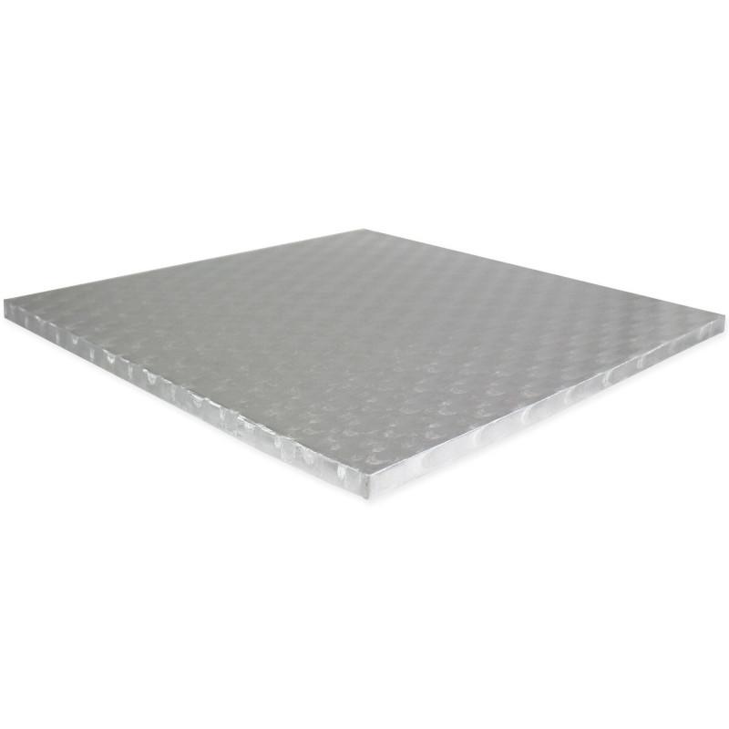 Drum SQUARE cake board thick silver 43cm