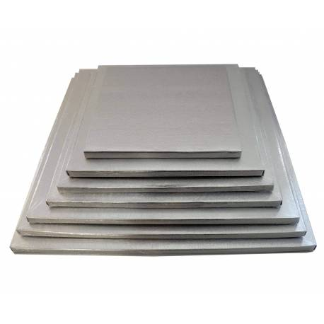 Thick tray for cakes 12mm silver SQUARE
