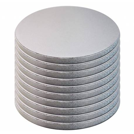 Set of 10 thick trays ROUND silver
