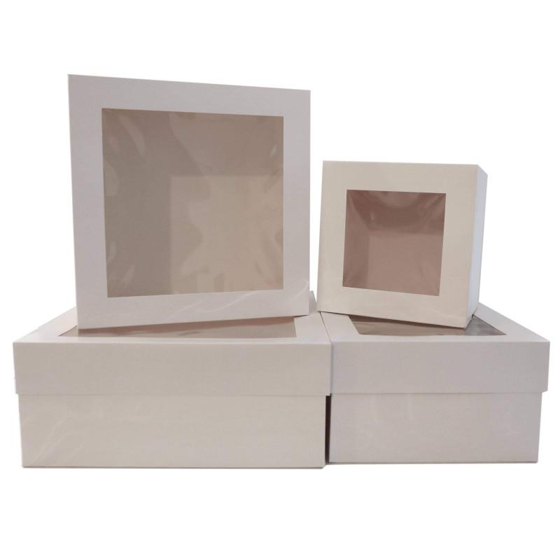 5 cajitas de pastelería con ventana de 15 cm de altura