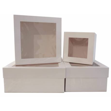 5 Pastry boxes with window 15 cm high