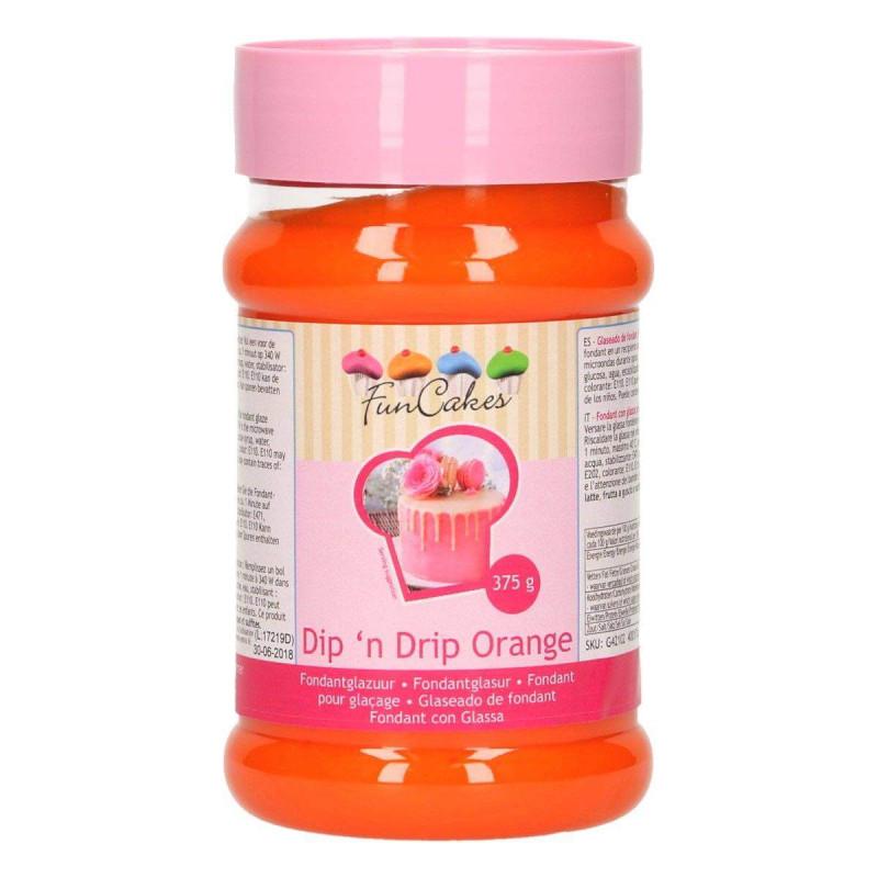 Fondant pour glaçage orange Dip'n Drip FUNCAKES 375g