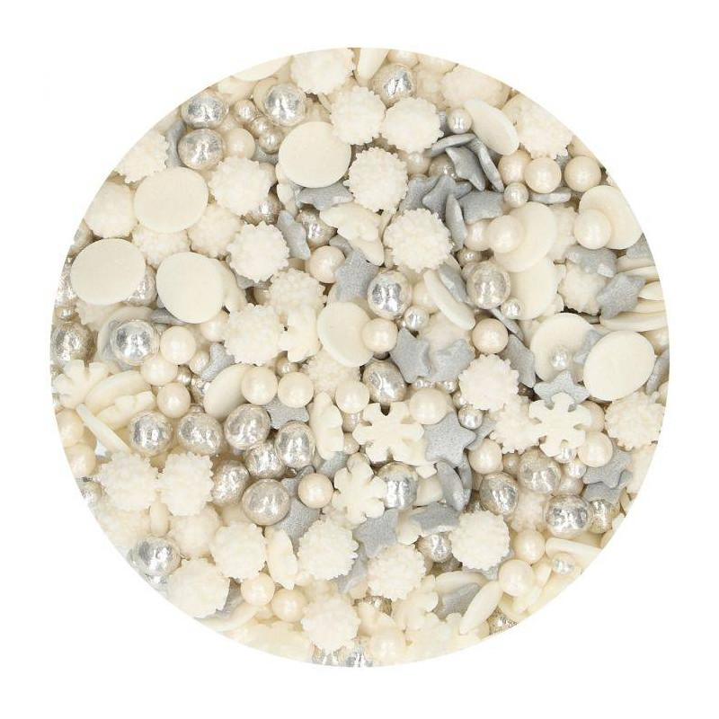 Confeti invierno Escamas blancas estrellas y perlas 50g