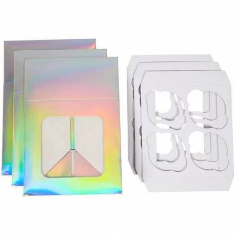 Set of 3 small cake boxes with iridescent effect