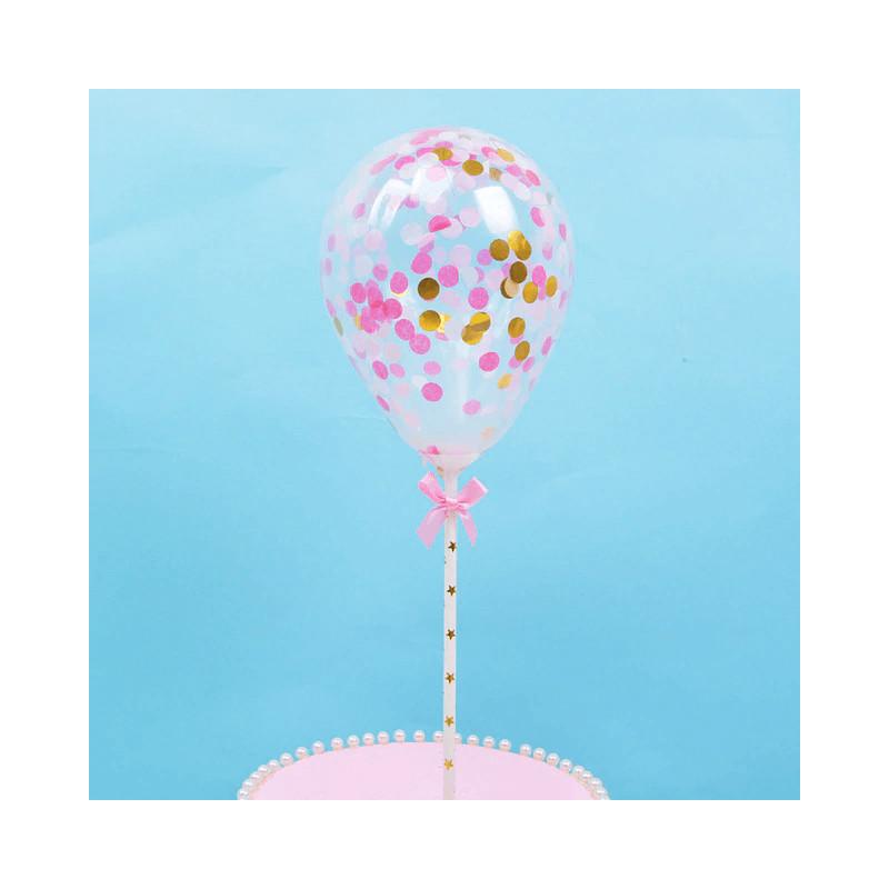 Topper globo de confeti rosa