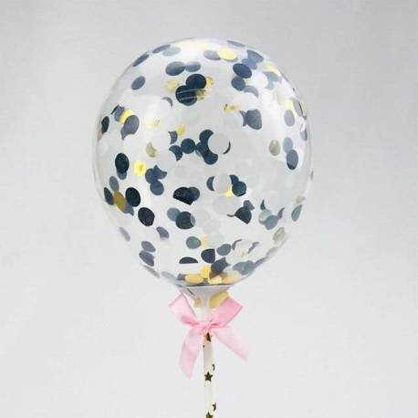 Topper confetti balloon black and silver