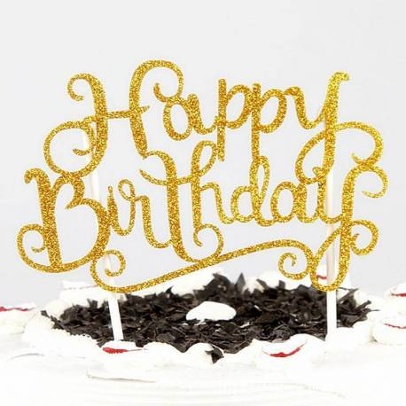 Topper Happy Birthday gold glitter