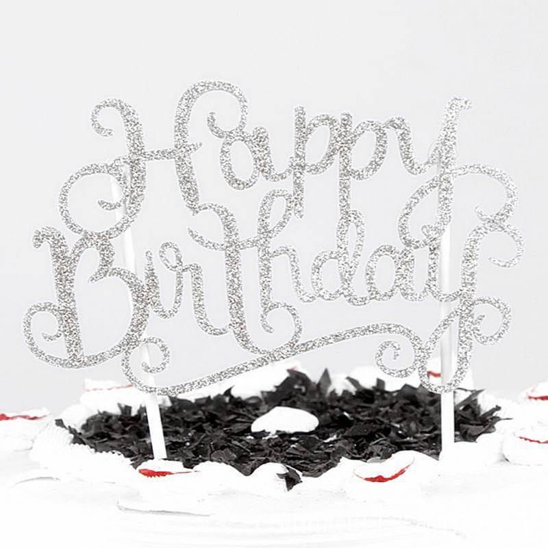 Topper Happy Birthday glitter silver