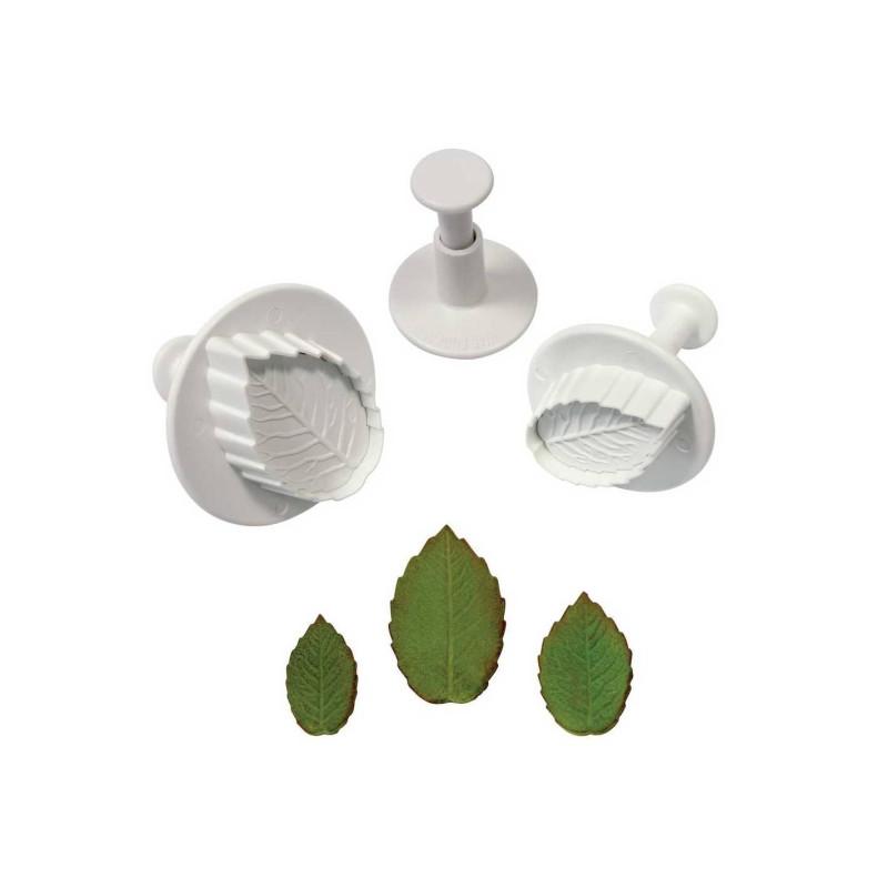 3 emporte-pièces feuilles de rose PME