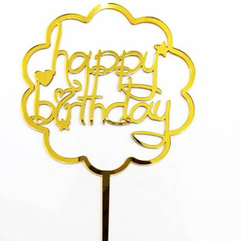 Topper Happy Birthday nuage Doré