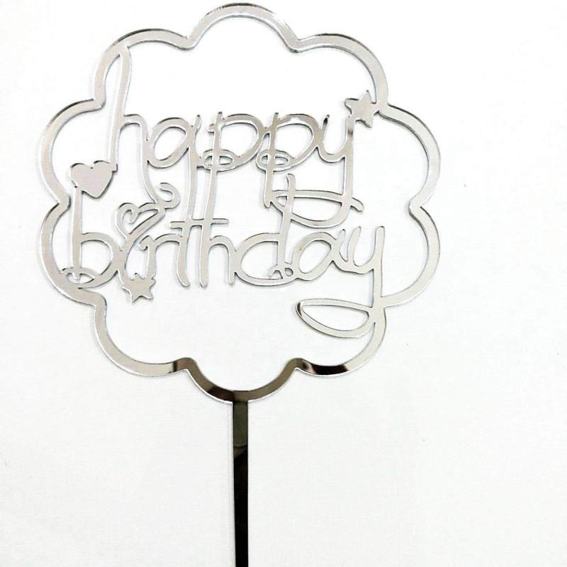 Topper Happy Birthday nuage Argent