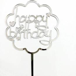 Topper Happy Birthday nuage argent