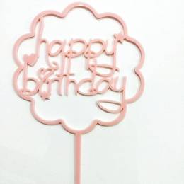 Topper Happy Birthday nuage rose