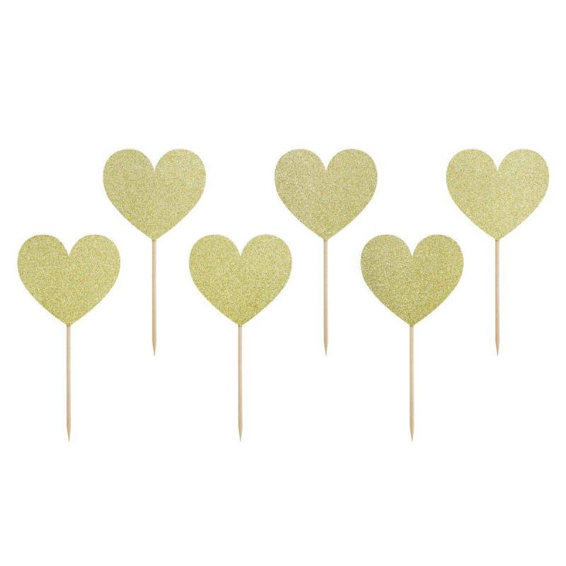 6 Toppers Coeurs dorés brillants
