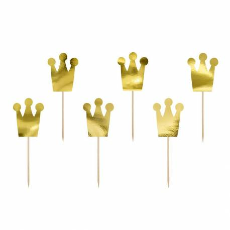 6 Princess Crown Toppers gold