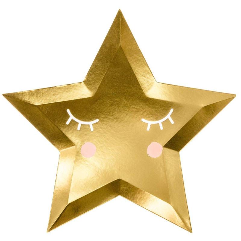 6 placas de oro en forma de estrella de unicornio 27 cm