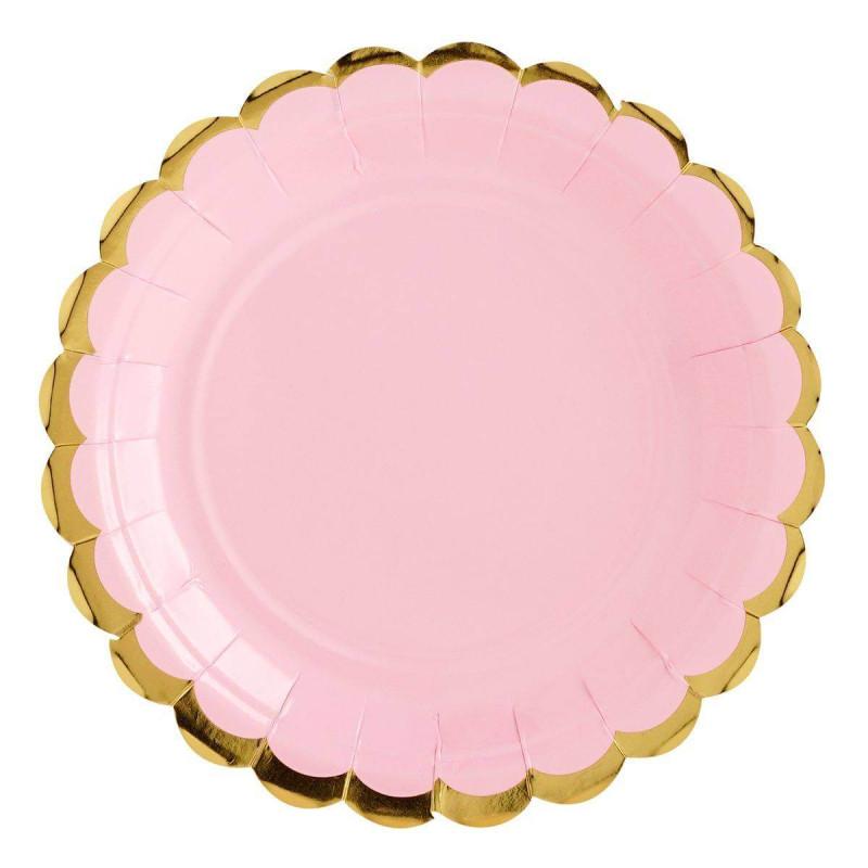 6 placas de color rosa con borde de oro de 18 cm