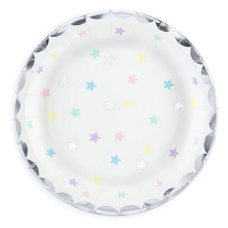 6 white starred plates unicorn theme 18 cm