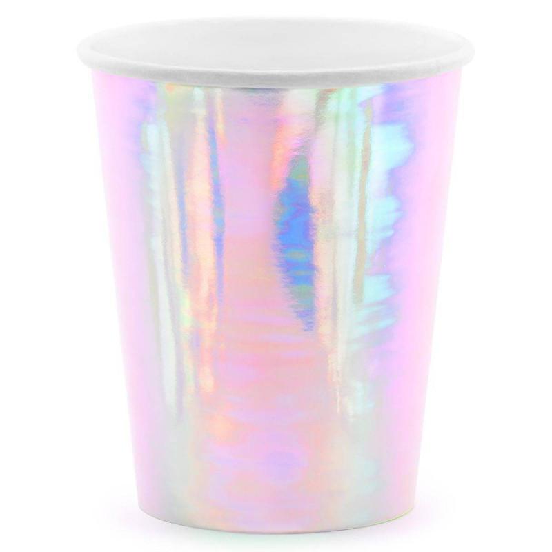 6 vidrios rosados con reflejos iridiscentes