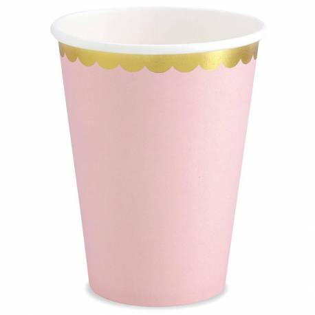 6 pink glasses with gold edging