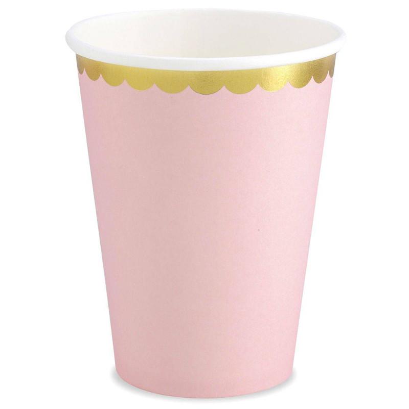 6 vasos rosados con borde dorado