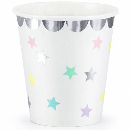 6 star glasses with silver outline and unicorn theme