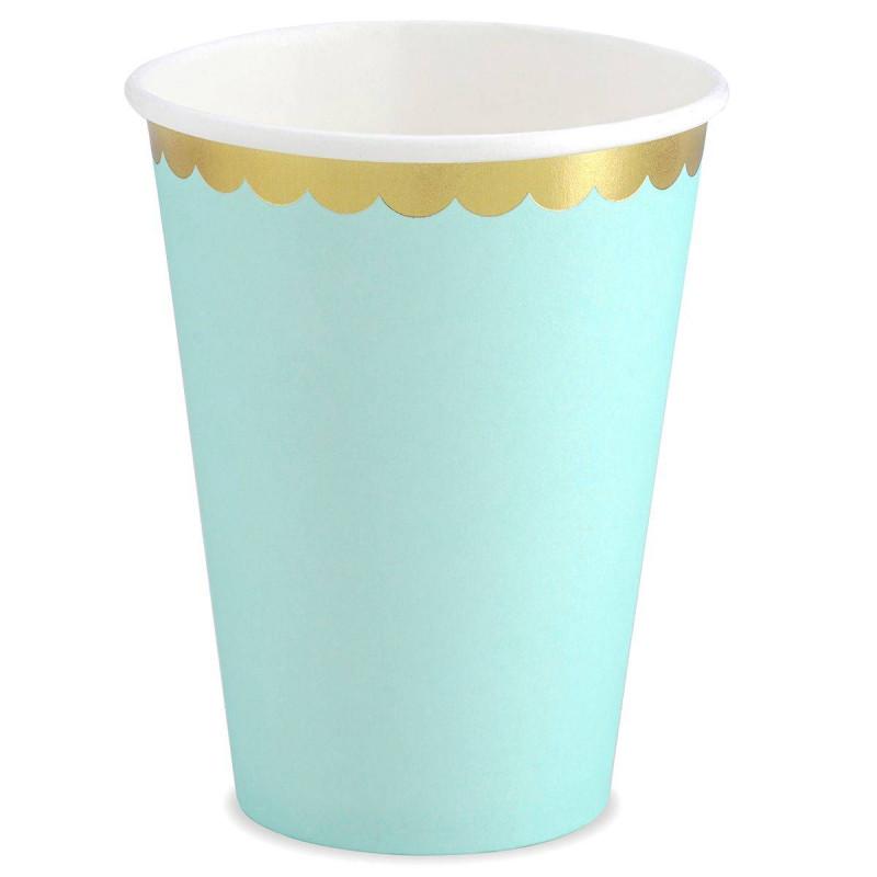 6 verres bleu menthe avec liseré or
