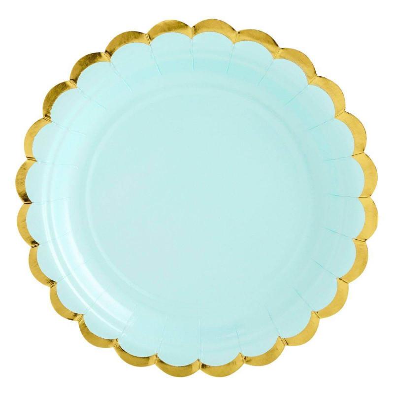 6 mint blue plates with gold rim 18 cm