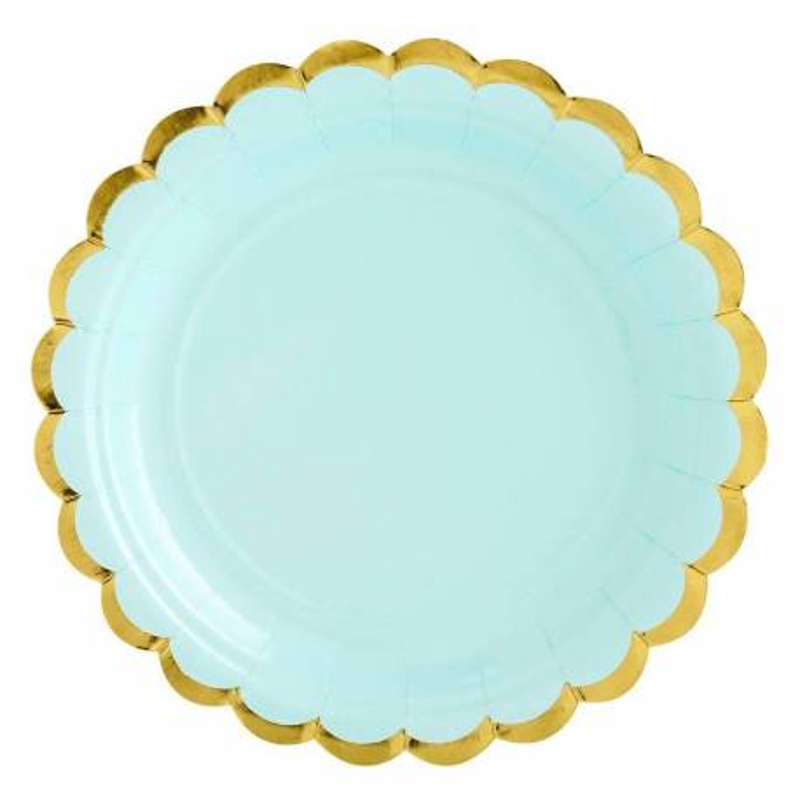 6 placas azules de menta con borde de oro de 18 cm