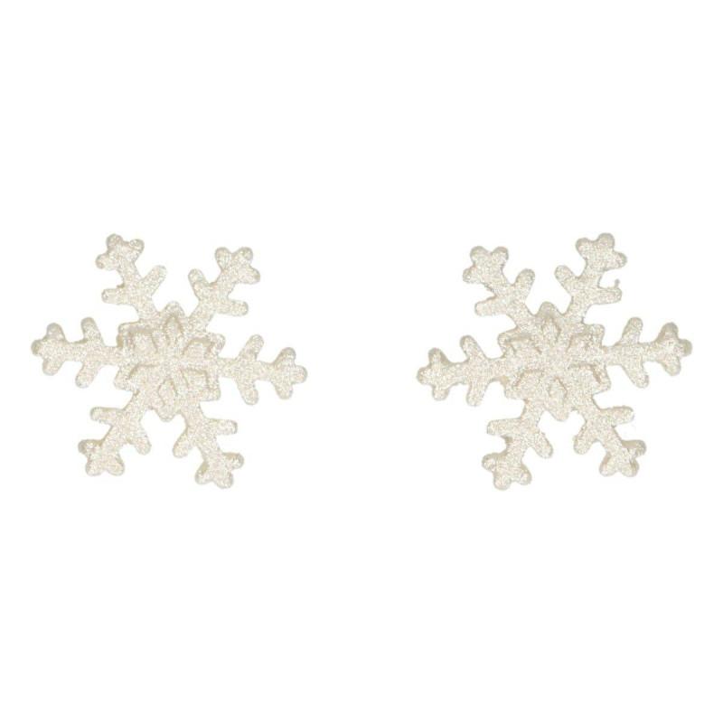 6 flocons de neige en sucre argent