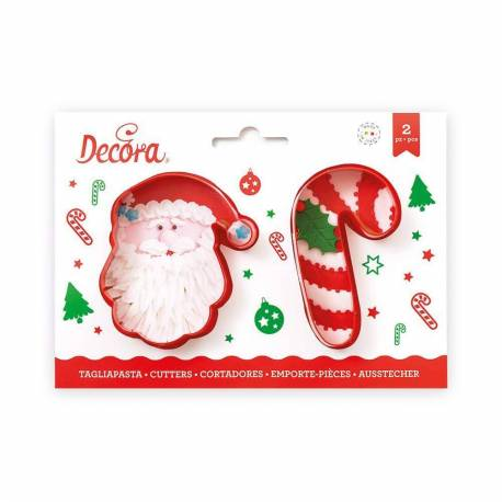 Set of 2 sugar cane and Santa Claus cutters