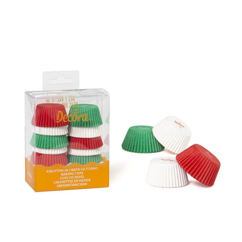 200 mini caissettes à cupcakes rouge blanc et vert
