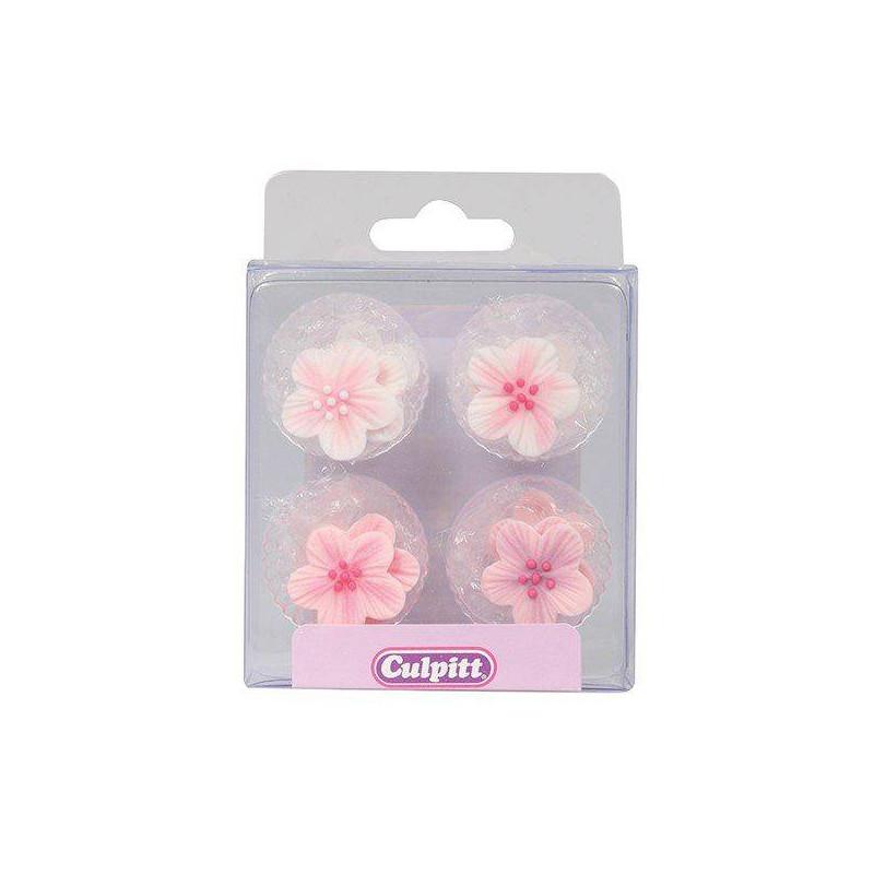 12 pink sugar flowers