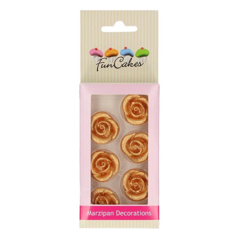 Fleur rose en pâte d'amande or - Funcakes (x6)
