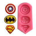 Molde de silicona con 3 logotipos de superhéroes