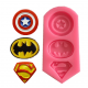 Silicone mould with 3 superhero logos