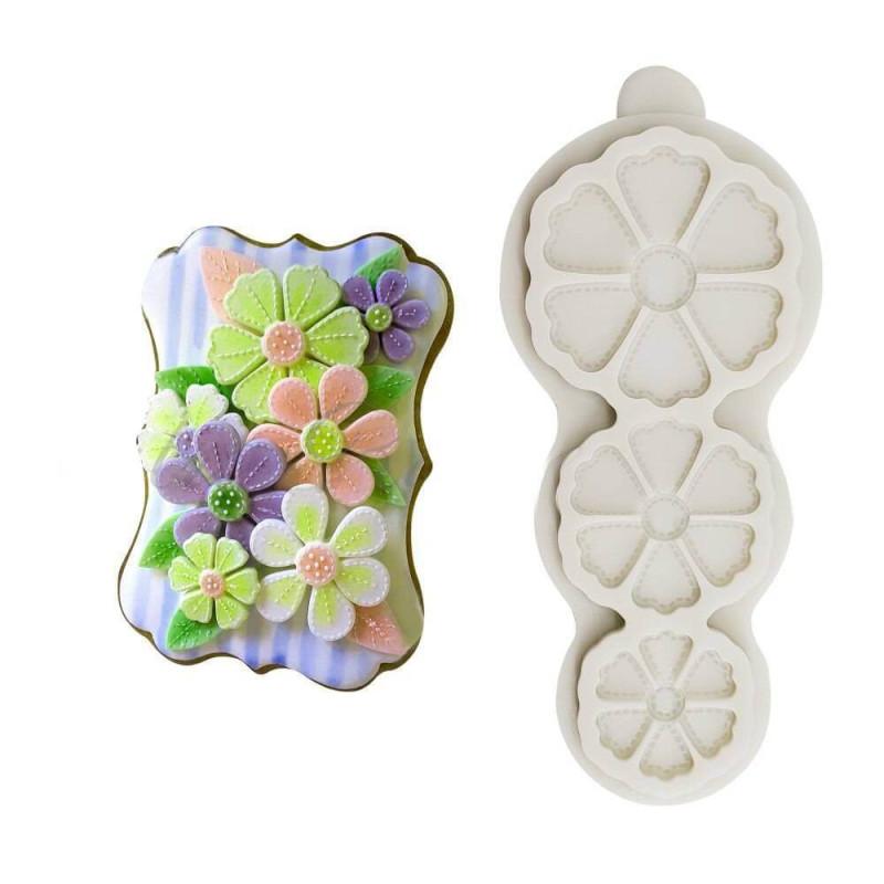 Moule en silicone 3 fleurs de printemps