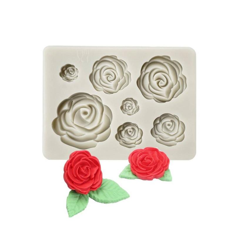 Moule en silicone fleurs 7 roses