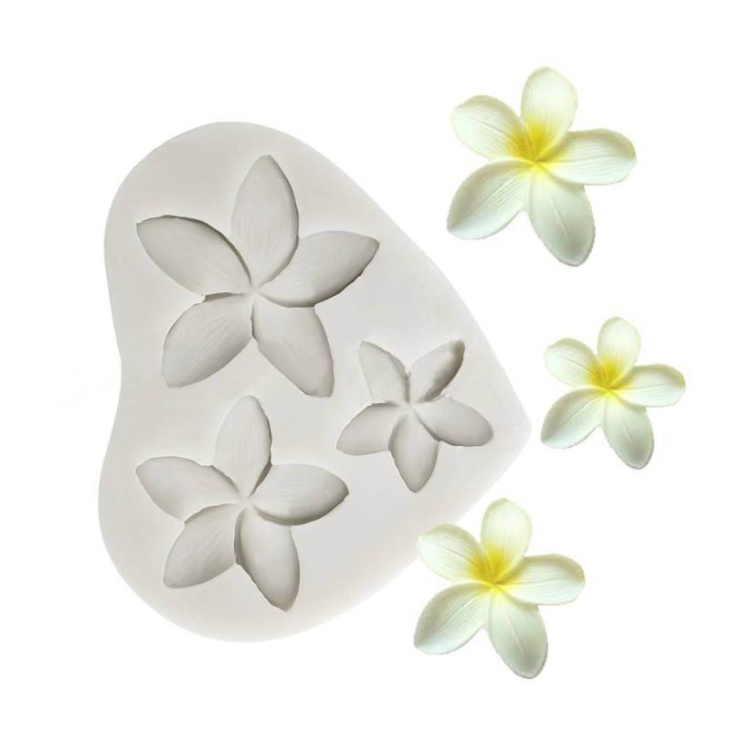 Moule fleur de frangipanier en silicone - 3 tailles