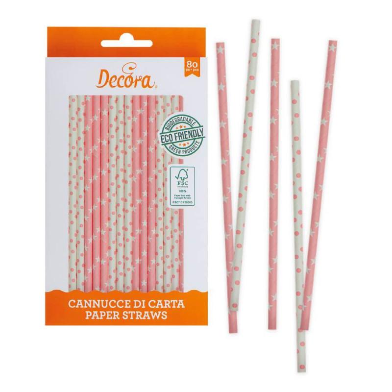 80 Batons pailles en papier Rose et blanc