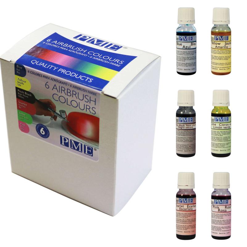 Paquete de 6 tintes 25ml PME para el aerógrafo