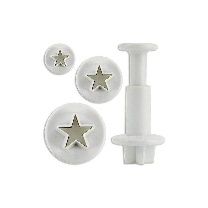 Juego de 3 mini cortadores de galletas en forma de estrella