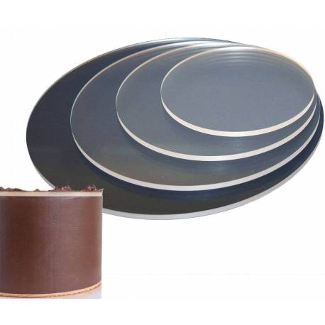 2 round acrylic discs with ganache right angle