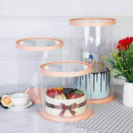 Round transparent and pink gold cake box