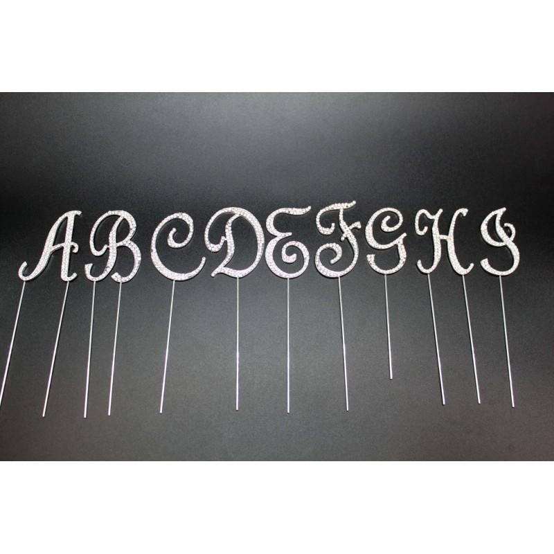 Topper lettres strass 7cm pour gateau