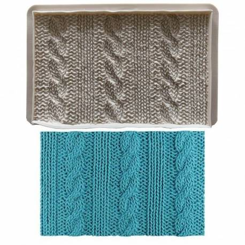 Alfombra de impresión con efecto de punto y suéter de lana