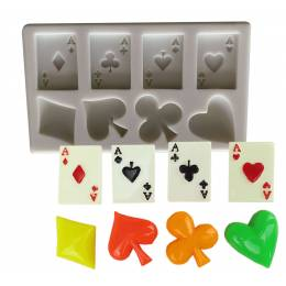 Silicone poker mould and playing cards